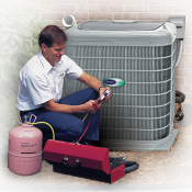 Tecnhician working on an outdoor A/C unit