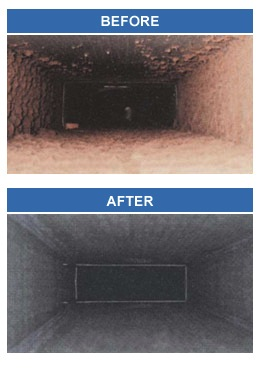 Before and after a duct cleaning
